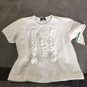 Baby girl white t-shirt with ruffles new with tags